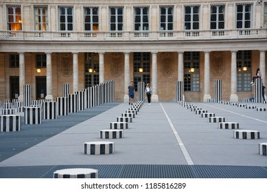 PARIS, FRANCE - AUGUST 20: Paris Palais-Royal (Palais-Cardinal, 1639) was personal residence of Cardinal Richelieu. Paris, France on AUGUST 20, 2018