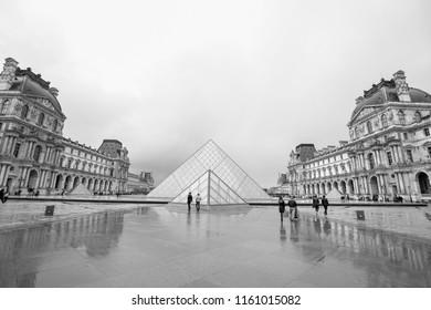 PARIS, FRANCE - AUGUST 21, 2018: View of famous Louvre Museum