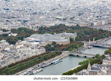 Paris, France - August 21, 2018:  Seine River and The Grand Palais and the Petit Palais as seen from the Eiffel Tower