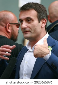 PARIS, FRANCE - AUGUST 21, 2021: French political figure, a former Marie Le Pen associate and the leader of Les Patriotes party  FLORIAN PHILIPPOT during the anti-Macron manifestation