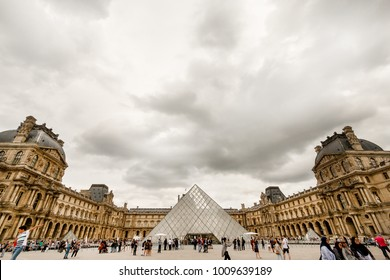 Paris / France - August 21,2017: The Louvre Museum , is the world's largest art museum and a historic monument in Paris, France.
