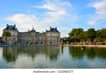 Paris / France — August 22, 2015: View of Luxembourg Palace from the Jardin du Luxembourg, Paris, France