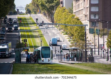 Paris (France), August 22, 2017. Tramway of the T3a line of the Paris network, along the Boulevard des Maréchaux in Paris on a dedicated track.