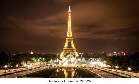 PARIS, FRANCE - AUGUST 23, 2012: The Eiffel Tower Tourist Attraction in Paris at night.