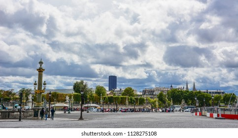 Paris / France - August 23, 2015: Paris skyline from the Place de la Concorde, one of the major squares of the French capital