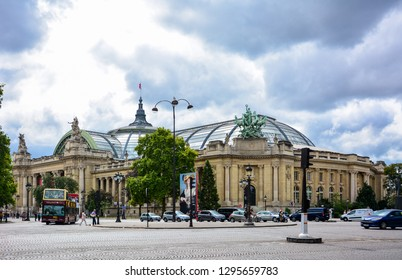 Paris / France — August 23, 2015: the facade of Grand Palais, a palace, exhibition hall and museum complex located between the Seine and Champs Elysees and near Petit Palais in Paris, France