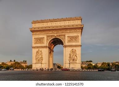 PARIS, FRANCE - AUGUST 23, 2016: Charles de Gaulle Place and Arc de Triomphe de l'Etoile.