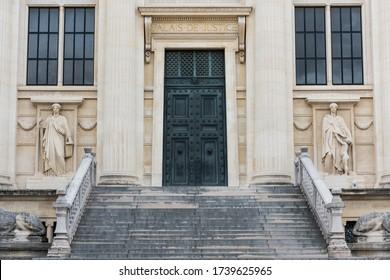 Paris, France, August 24, 2018: The Palais de Justice, formerly the Palais de la Cite, is located on the Boulevard du Palais in the Ile de la Cite in central Paris, France.