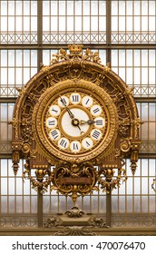 Paris, France - August 25, 2015: Golden clock of the museum D'Orsay.The Musee d'Orsay is a museum in Paris, on the left bank of the Seine.