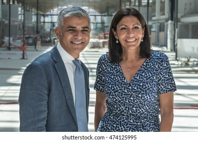PARIS, FRANCE - AUGUST 25, 2016 : The Mayor of London Sadiq Khan visiting the building of Station F the largest start-up incubator in the world with the Mayor of Paris Anne Hidalgo.