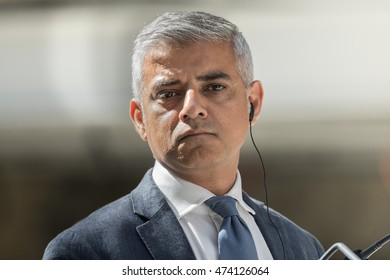 PARIS, FRANCE - AUGUST 25, 2016 : The Mayor of London Sadiq Khan in press conference after visiting the building of Station F the biggest startup space and incubator worldwide.