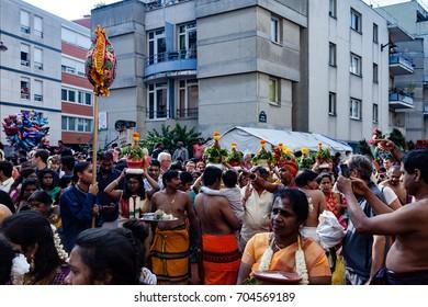 Paris, France - August 27, 2017 :  Hindu of Paris France celebrate Ganesh Chturthi hindu festival.