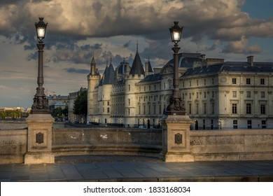 Paris, France - August 28, 2020: View of  Conciergerie palace at night in Paris