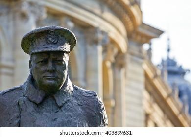 Paris, France - August 29, 2011: Av. Winston Churchill, the Churchill monument detail.