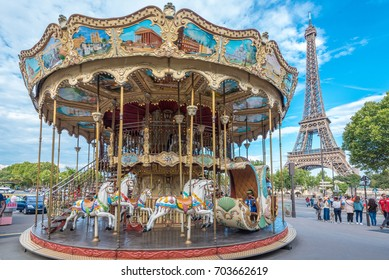 PARIS, FRANCE - August 3, 2017 : Eiffel tower and Carousel in front of the Palais de Chaillot