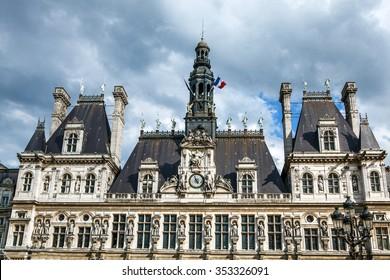 PARIS, FRANCE - AUGUST 30, 2015: Hotel-de-Ville (City Hall) in Paris - building housing City of Paris's administration. Building was constructed between 1874 -1882. France