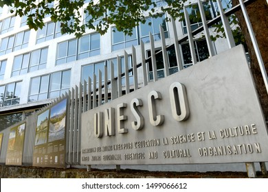 Paris, France - August 30, 2019: The logo of the UNESCO on the main  building in Paris, France.