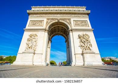 PARIS, FRANCE - AUGUST 30, 2019 :: Arc de Triomphe, a popular destination in Paris.