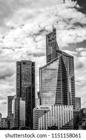 PARIS - FRANCE - AUGUST 30: Black-white  architecture photo of Paris buildings on August 30, 2015 in Paris.