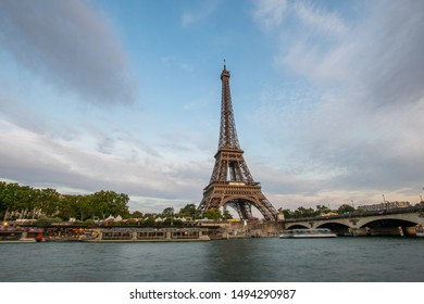 Paris / France - August 31 2019. Long exposure vie across the River Seine on the last day of Summer in 2019
