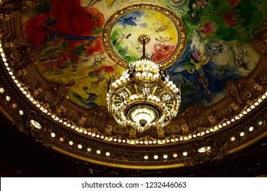 Paris; France - august 4 2018 : the Opera de Paris ceiling painted by Marc Chagall