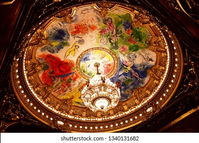 Paris; France - august 4 2018 : the ceiling painted by Marc Chagall in the Opera de Paris