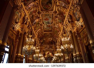 Paris; France - august 4 2018 : the Grand Foyer of the Opera de Paris