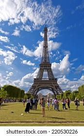 PARIS, FRANCE, August 5, 2014: View of the Eiffel tower in Paris. Paris beautiful destinations in Europe