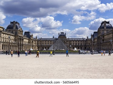 PARIS, FRANCE - August 6, 2016: Louvre museum closeup exterior view on. With over 60k sqM of exhibition space, Louvre is the biggest Museum in Paris.
