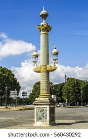 PARIS, FRANCE - August 6, 2016:Antique street lamp on the Place de la Concorde in Paris, France