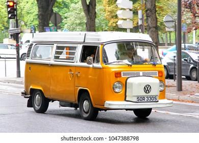 Paris, France - August 8, 2014: Passenger van Volkswagen Transporter in the city street.