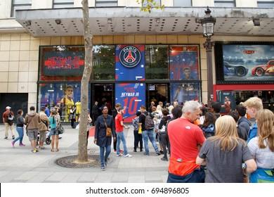 PARIS, FRANCE - AUGUST 9, 2017: PSG fan shop on The Champs-Elysees after the start of sales Neymar JR's t-shirts