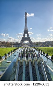 Paris, France. Beautiful view of Eiffel Tower from Trocadero Gardens.