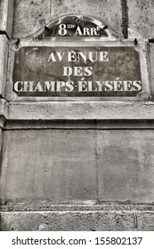 Paris, France - Champs Elysees street sign. One of the most famous streets in the world.