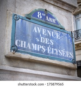 Paris, France - Champs Elysees street sign. One of the most famous streets in the world. Square composition.