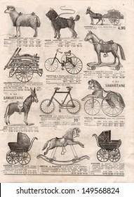 PARIS, FRANCE - CIRCA 1898: vintage victorian toys collection. antique shop advertising, page of very popular shopping catalog Samaritaine, Paris, France, circa 1898