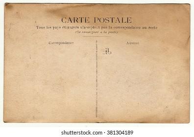 PARIS, FRANCE - CIRCA 1900s: Back of vintage photo.