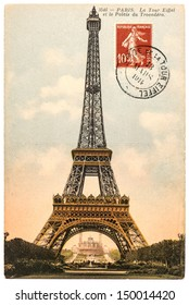 PARIS, FRANCE - CIRCA 1914: vintage postcard with Eiffel Tower (La Tour Eiffel) in Paris, France, circa 1914