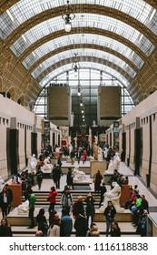 PARIS, FRANCE - CIRCA APRIL 2018: Main Hall of the Musée d'Orsay in Paris