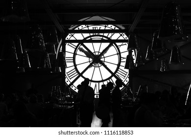 PARIS, FRANCE - CIRCA APRIL 2018: View of the big clock from inside the restaurant  of the Musée d'Orsay in Paris