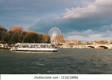 PARIS, FRANCE - CIRCA APRIL 2018: View from a boat trip along the river Seine of Paris