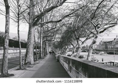 PARIS, FRANCE - CIRCA APRIL 2018: View along the Seine river in Paris