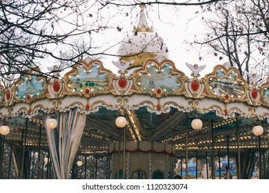 PARIS, FRANCE - CIRCA APRIL 2018: Detail of a vintage merry-go-round in Paris, France