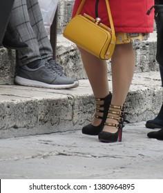 PARIS, FRANCE - CIRCA APRIL 2019: Christian Louboutin four strap heels