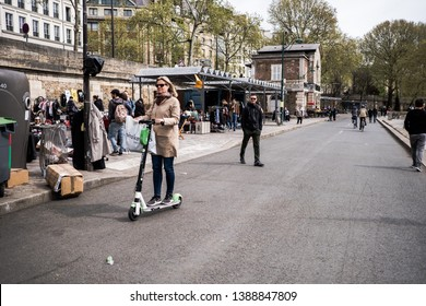 Paris, France - Circa April 2019 - escooters on the streets of paris