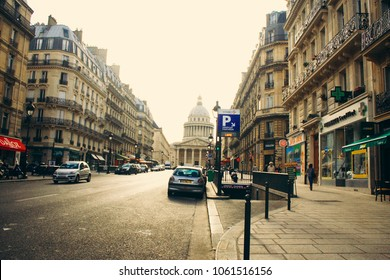 PARIS, FRANCE - CIRCA AUGUST 2009: A scene on rue Soufflot leading to the Panthéon, a famous monument and mausoleum in central Paris, France