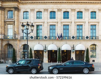PARIS, FRANCE - CIRCA DECEMBER 2016: The Ritz Paris hotel on Place Vendome.