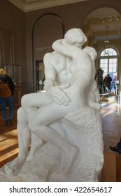 PARIS, FRANCE - CIRCA JANUARY 2016: Le Baiser (meaning The Kiss) is an 1889 marble sculpture by the French sculptor Auguste Rodin at Rodin Museum