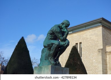 PARIS, FRANCE - CIRCA JANUARY 2016: Le Penseur (meaning The Thinker) sculpture from year 1902 by Auguste Rodin representing philosophy in Paris