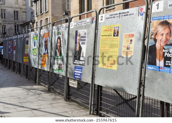 PARIS, FRANCE - CIRCA MARCH 2010: Official election boards set up for the regional elections.